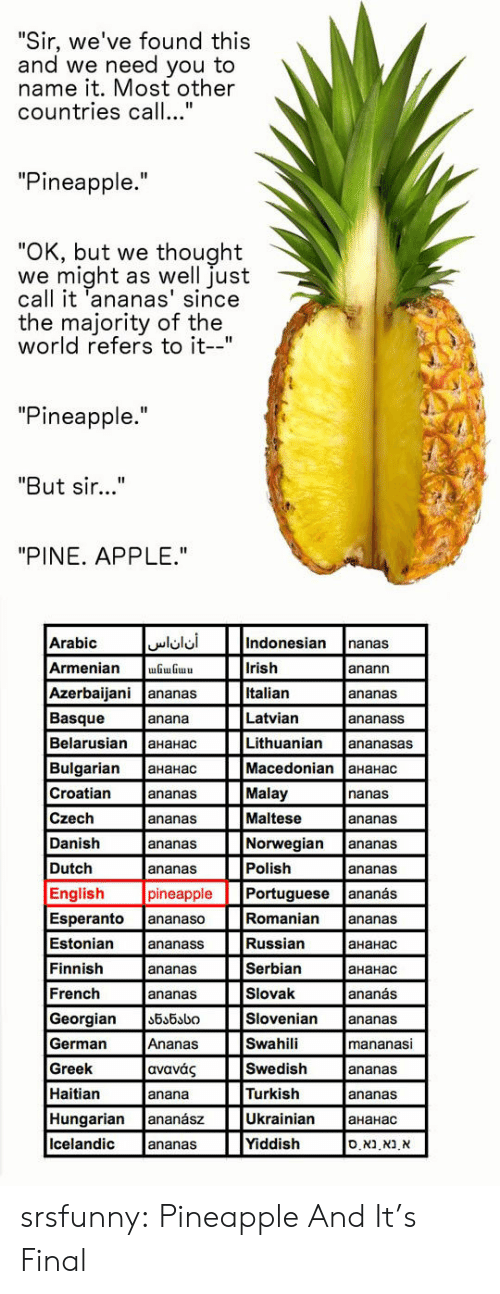 "Georgian: Sir, we've found this  and we need you to  name it. Most other  countries call...""  ""Pineapple.""  OK, but we thought  we might as well just  call it 'ananas' since  the majority of the  world refers to it-""  ""Pineapple.""  ""But sir...""  ""PINE. APPLE.""  Arabic  Armenian GGu  Azerbaijani ananas  Basque  Belarusian aHaHac  Bulgarian aHaHac  Croatian  Czech  Danish  Dutch  English  Indonesian nanas  Irish  Italian  Latvian  Lithuanian ananasas  Macedonian 
