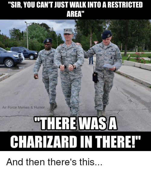"Meme, Memes, and Air Force: ""SIR, YOU CAN'T JUSTWALKINTO A RESTRICTED  AREA""  Air Force Memes & Humor  ""THERE WAS A  CHARIZARD IN THERE!"" And then there's this..."