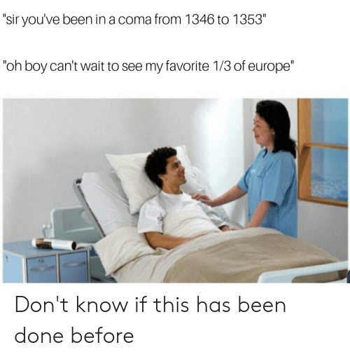 """sir-youve-been-in-a-coma: """"sir you've been in a coma from 1346 to 1353""""  """"oh boy can't wait to see my favorite 1/3 of europe"""" Don't know if this has been done before"""