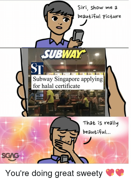 Beautiful, Memes, and Siri: Siri, Show me a  beautiful Picture  SUBWAY.  ST  Subway Singapore applying  for halal certificate  That is really  beautiful  SGAG You're doing great sweety 💖💖
