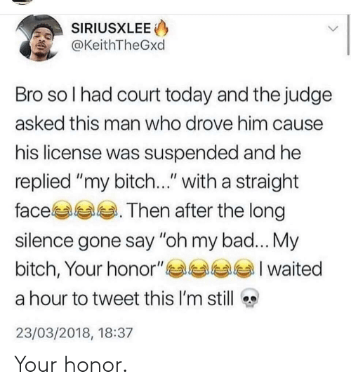 """My Bitch: SIRIUSXLEE  @KeithTheGxd  Bro so l had court today and the judge  asked this man who drove him cause  his license was suspended and he  replied """"my bitch..."""" with a straight  face. Then after the long  silence gone say """"oh my bad... My  bitch, Your honor""""부부부부 I waited  a hour to tweet this I'm still  23/03/2018, 18:37 Your honor."""