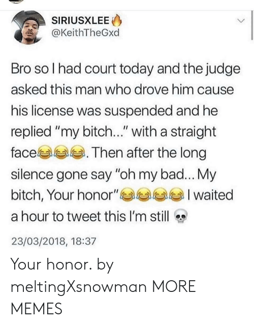 """My Bitch: SIRIUSXLEE  @KeithTheGxd  Bro so l had court today and the judge  asked this man who drove him cause  his license was suspended and he  replied """"my bitch..."""" with a straight  face. Then after the long  silence gone say """"oh my bad... My  bitch, Your honor""""부부부부 I waited  a hour to tweet this I'm still  23/03/2018, 18:37 Your honor. by meltingXsnowman MORE MEMES"""