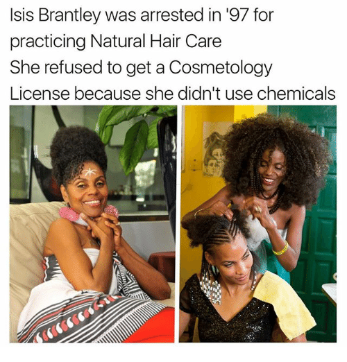 Memes, Hair, and 🤖: sis Brantley was arrested in 97 for  practicing Natural Hair Care  She refused toget a Cosmetology  License because she didn't use chemicals