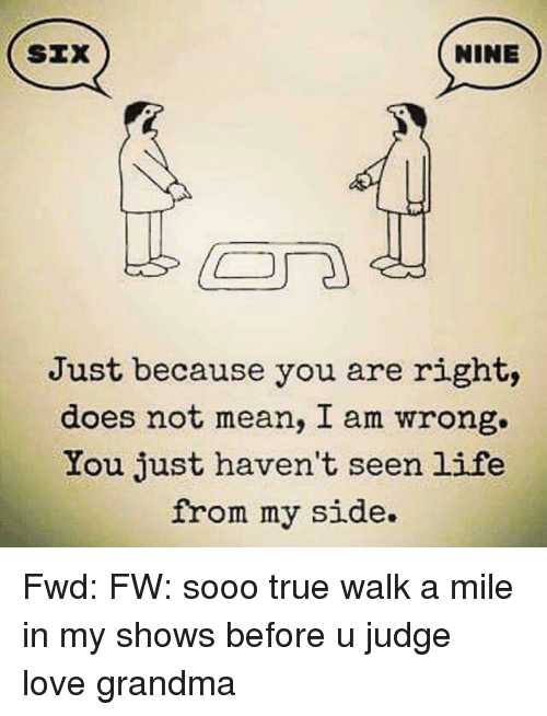 SIX NINE Just Because You Are Right Does Not Mean I Am ... I Am Right You Are Wrong