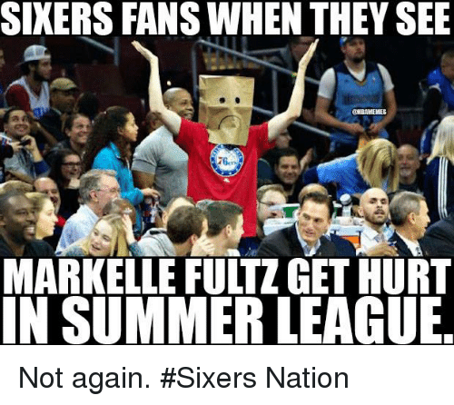Markelle Fultz: SIXERS FANS WHEN THEY SEE  MARKELLE FULTZ GET HURT  IN SUMMER LEAGUE Not again. #Sixers Nation