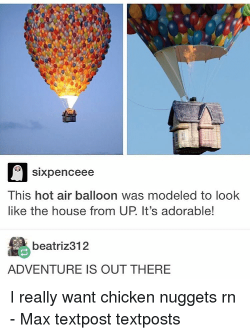 hot air balloons: Sixpence ee  This hot air balloon was modeled to look  like the house from UP It's adorable!  beatriz 312  ADVENTURE IS OUT THERE I really want chicken nuggets rn - Max textpost textposts