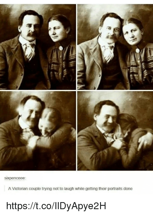 Memes, Victorian, and 🤖: sixpenceee  A Victorian couple trying not to laugh while getting their portraits done https://t.co/IlDyApye2H