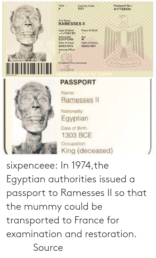 France: sixpenceee:  In  1974,the Egyptian authorities issued a passport to Ramesses II so that  the mummy could be transported to France for examination and  restoration.                 Source