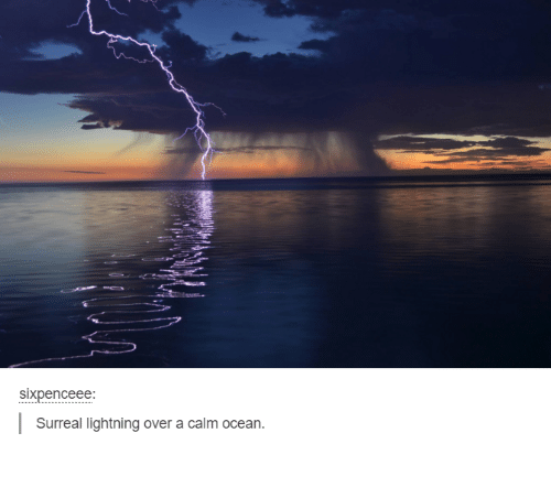 surrealism: sixpenceee:  Surreal lightning over a calm ocean.