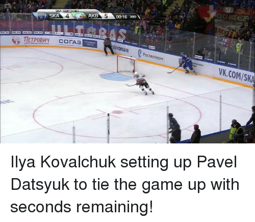 Hockey, The Game, and Game: SKA: EMPI  SKA  AKB  0015 3RD  eneKOM  VK.COMISKA Ilya Kovalchuk setting up Pavel Datsyuk to tie the game up with seconds remaining!