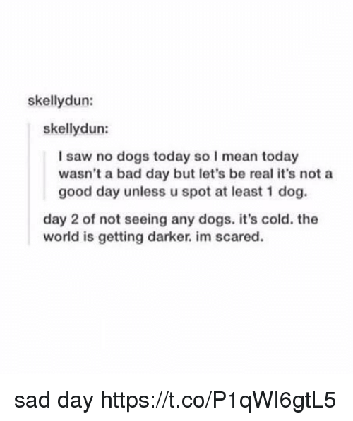 Bad, Bad Day, and Dogs: skellydun:  skellydun:  I saw no dogs today so I mean today  wasn't a bad day but let's be real it's not a  good day unless u spot at least 1 dog.  day 2 of not seeing any dogs. it's cold. the  world is getting darker. im scared. sad day https://t.co/P1qWI6gtL5