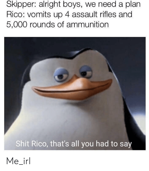 Assault Rifles: Skipper: alright boys, we need a plan  Rico: vomits up 4 assault rifles and  5,000 rounds of ammunition  Shit Rico, that's all you had to say Me_irl