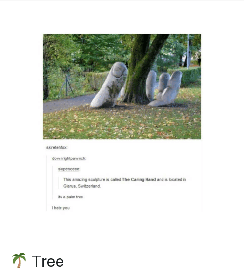 Funny, Switzerland, and Tree: skiretehfox  downrightpawnch:  skpenceee  This amazing sculpture is called The Caring Hand and is located in  Glarus, Switzerland  ts a palm tree  I hate you