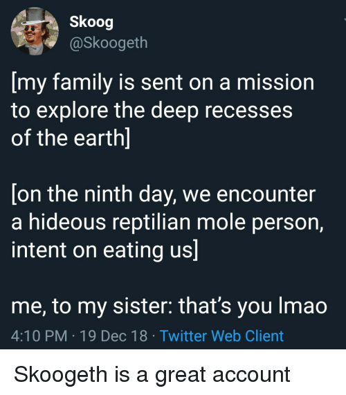hideous: Skoog  @Skoogeth  [my family is sent on a mission  to explore the deep recesses  of the earth]  [on the ninth day, we encounter  a hideous reptilian mole person,  intent on eating us]  me, to my sister: that's you Imao  4:10 PM-19 Dec 18 Twitter Web Client Skoogeth is a great account