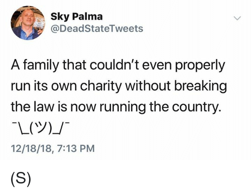 breaking the law: Sky Palma  @DeadStateTweets  A family that couldn't even properly  run its own charity without breaking  the law is now running the country.  12/18/18, 7:13 PM (S)