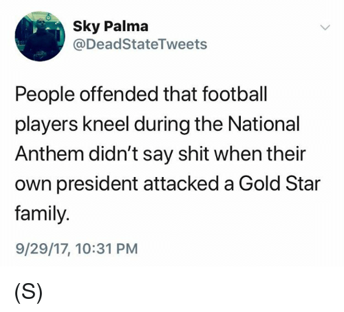 Family, Football, and Shit: Sky Palma  @DeadStateTweets  People offended that football  players kneel during the National  Anthem didn't say shit when their  own president attacked a Gold Star  family.  9/29/17, 10:31 PM (S)