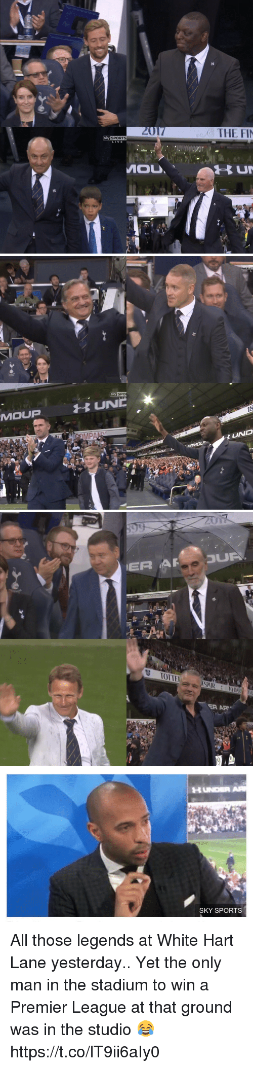 Af, Premier League, and Soccer: Sky SPORTS  LIVE  MOU  THE FIN   MOLUP  Sky SPO  MAAMOLP  UND   ER AF-3U  ㅎ TOITEI  /(SPUR ::10 DAR  ER AP  O   HUNDER AR  SKY SPORTS All those legends at White Hart Lane yesterday..  Yet the only man in the stadium to win a Premier League at that ground was in the studio 😂 https://t.co/lT9ii6aIy0