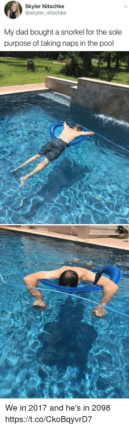 skyler: Skyler Nitschke  @skyler_nitschke  My dad bought a snorkel for the sole  purpose of taking naps in the pool We in 2017 and he's in 2098 https://t.co/CkoBqyvrD7