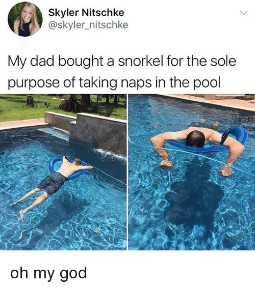 skyler: Skyler Nitschke  @skyler_nitschke  My dad bought a snorkel for the sole  purpose of taking naps in the pool oh my god