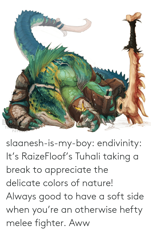 fighter: slaanesh-is-my-boy:  endivinity:  It's RaizeFloof's Tuhali taking a break to appreciate the delicate colors of nature! Always good to have a soft side when you're an otherwise hefty melee fighter.   Aww
