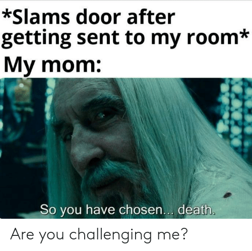 Slams: *Slams door after  getting sent to my room*  My mom:  So you have chosen... death. Are you challenging me?