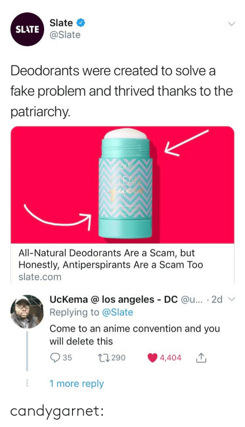 Los Angeles: Slate  SLATE@Slate  Deodorants were created to solve a  fake problem and thrived thanks to the  patriarchy.  All-Natural Deodorants Are a Scam, but  Honestly, Antiperspirants Are a Scam Too  slate.com  UcKema @ los angeles  Replying to @Slate  DC @u... 2d  Come to an anime convention and you  will delete this  t290  4,404  35  1 more reply candygarnet: