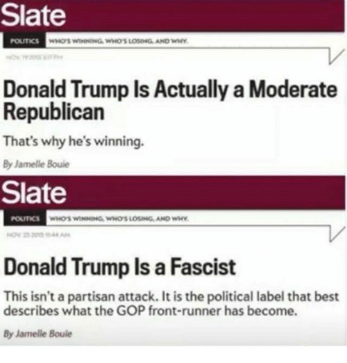 Front Runners: Slate  WHOSWINNING WHOS LOSING AND  Donald Trump Is Actually a Moderate  Republican  That's why he's winning  By Jamelle Bouie  Slate  Donald Trump ls a Fascist  This isn't a partisan attack. It is the political label that best  describes what the GOP front-runner has become.  By Jamelle Bouie