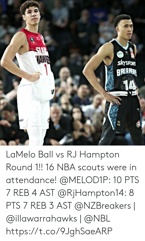 Slav: SLAV  AWS  1  skysPORT  BREAVERE  14  ON  w LaMelo Ball vs RJ Hampton Round 1!! 16 NBA scouts were in attendance!  @MELOD1P: 10 PTS 7 REB 4 AST @RjHampton14: 8 PTS 7 REB 3 AST   @NZBreakers | @illawarrahawks | @NBL https://t.co/9JghSaeARP