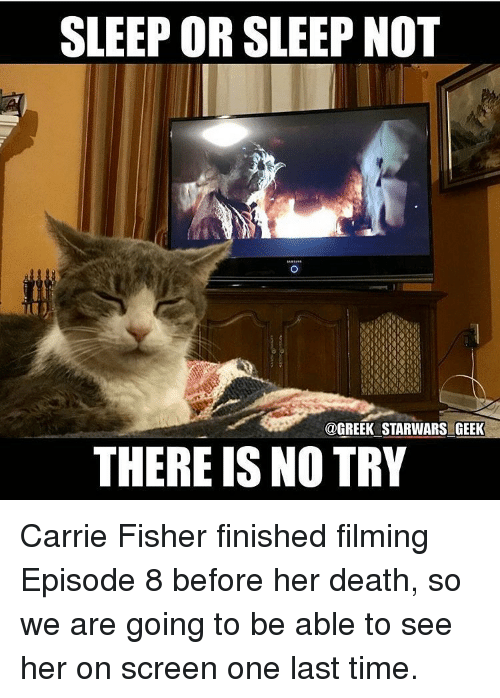 Carrie Fisher, Memes, and Greek: SLEEP OR SLEEP NOT  @GREEK STARWARSIGEEK  THERE IS NO TRY Carrie Fisher finished filming Episode 8 before her death, so we are going to be able to see her on screen one last time.