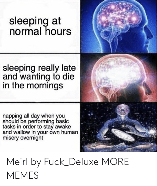 overnight: sleeping at  normal hours  sleeping really late  and wanting to die  in the mornings  napping all day when you  should be performing basic  tasks in order to stay awake  and wallow in your own human  misery overnight Meirl by Fuck_Deluxe MORE MEMES