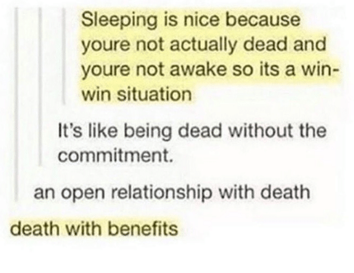 Death, Sleeping, and Nice: Sleeping is nice because  youre not actually dead and  youre not awake so its a win-  win situation  It's like being dead without the  commitment.  an open relationship with death  death with benefits