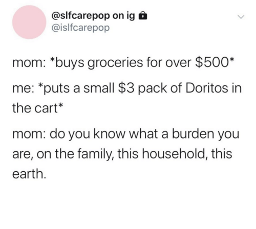 burden: @slfcarepop on ig  @islfcarepop  mom: *buys groceries for over $500*  me: *puts a small $3 pack of Doritos in  the cart*  mom: do you know what a burden you  are, on the family, this household, this  earth