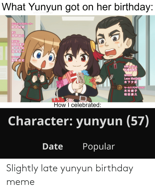 birthday meme: Slightly late yunyun birthday meme