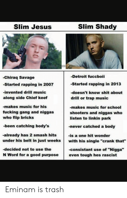 "Slim Jesus: Slim Jesus  Slim Shady  Big C  -Detroit fuccboii  -Started rapping in 2013  -doesn't know shit about  drill or trap music  -Chiraq Savage  -Started rapping in 2007  -invented drill music  along side Chief keef  -makes music for his  fucking gang and niggas  who flip bricks  -been catching body's  -makes music for school  shooters and niggas who  listen to linkin park  -never catched a body  -already has 2 smash hits  under his belt in just weeks with his single ""crank that""  -decided not to use the  N Word for a good purpose even tough hes rascist  -is a one hit wonder  -consistant use of ""Nigga"" Eminam is trash"