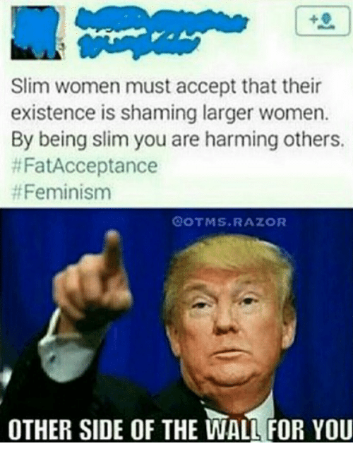 Other Side Of The Wall For You: Slim women must accept that their  existence is shaming larger women.  By being slim you are harming others.  #FatAcceptance  # Feminism  OOTMS.RAZOR  OTHER SIDE OF THE WALL FOR YOU