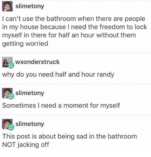 Ironic, Jacking Off, and My House: slimetony  I can't use the bathroom when there are people  in my house because I need the freedom to lock  myself in there for half an hour without them  getting worried  wxonderstruck  why do you need half and hour randy  slime tony  Sometimes I need a moment for myself  slime tony  This post is about being sad in the bathroom  NOT jacking off