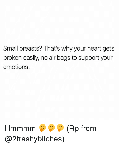 Memes, Heart, and 🤖: Small breasts? That's why your heart gets  broken easily, no air bags to support your  emotions. Hmmmm 🤔🤔🤔 (Rp from @2trashybitches)