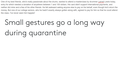 Gestures: Small gestures go a long way during quarantine