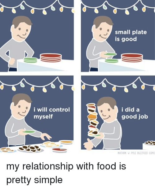 Food, Control, and Buzzfeed: small plate  Is good  i will control  mysel  i did a  good job  ATHAN WN PYLE BUZZFEED CONI my relationship with food is pretty simple