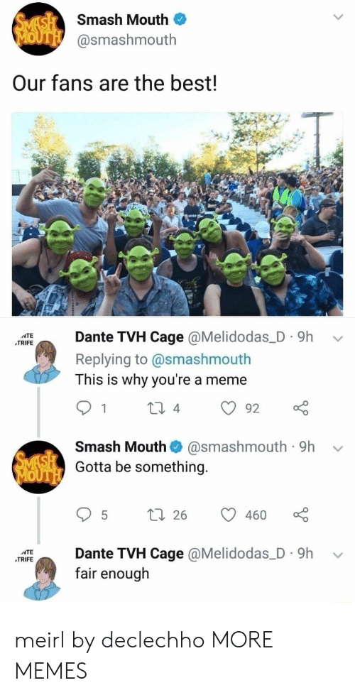 ante: Smash Mouth  @smashmouth  Our fans are the best!  IEante TVH Cage @Melidodas_D. 9h v  TRIFE  Replying to @smashmouth  This is why you're a meme  Smash Mouth@smashmouth 9h  Gotta be something.  95 t 26  ante TVH Cage @Melidodas_D. 9h v  fair enough meirl by declechho MORE MEMES