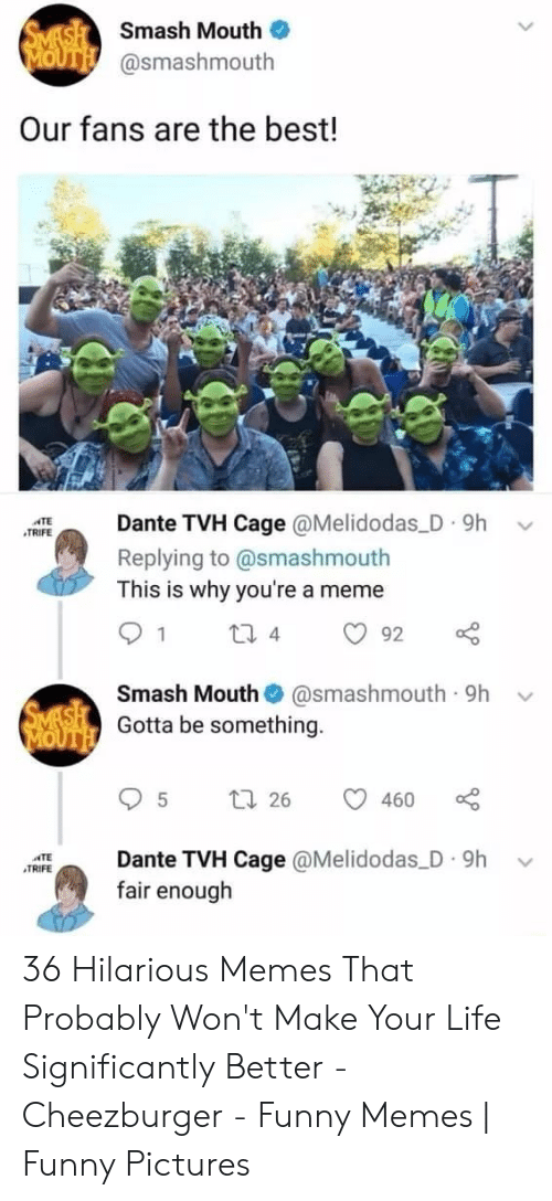 Smashing: SMASH Smash Mouth  MOUTH @smashmouth  Our fans are the best!  Dante TVH Cage @Melidodas D 9h  ATE  TRIFE  Replying to @smashmouth  This is why you're a meme  1  2i 4  92  Smash Mouth  @smashmouth 9h  SMASH Gotta be something.  MOUTH  t 26  460  Dante TVH Cage @Melidodas D 9h  fair enough  TE  TRIFE 36 Hilarious Memes That Probably Won't Make Your Life Significantly Better - Cheezburger - Funny Memes | Funny Pictures