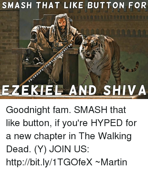 Smash That Like Button: SMASH THAT LIKE BUTTON FOR  EZEKIEL AND SHIVA Goodnight fam. SMASH that like button, if you're HYPED for a new chapter in The Walking Dead. (Y) JOIN US: http://bit.ly/1TGOfeX ~Martin