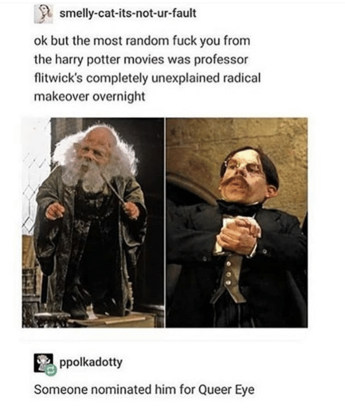 Fuck You, Harry Potter, and Movies: smelly-cat-its-not-ur-fault  ok but the most random fuck you from  the harry potter movies was professor  flitwick's completely unexplained radical  makeover overnight  ppolkadotty  Someone nominated him for Queer Eye