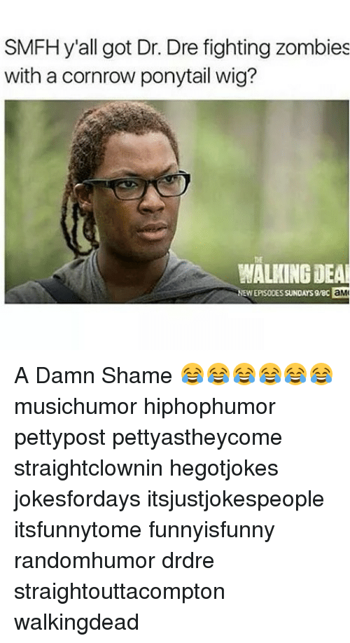 Dr. Dre, Memes, and Zombies: SMFH y'all got Dr. Dre fighting zombies  with a cornrow ponytail wig?  tE  WALKING DEA  EW  EPISODES SUNDAYS9/80  aM A Damn Shame 😂😂😂😂😂😂 musichumor hiphophumor pettypost pettyastheycome straightclownin hegotjokes jokesfordays itsjustjokespeople itsfunnytome funnyisfunny randomhumor drdre straightouttacompton walkingdead
