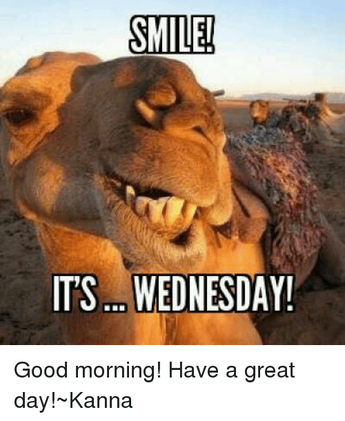 Good Morning Meme Wednesday : Smile its wednesday good morning have a great day