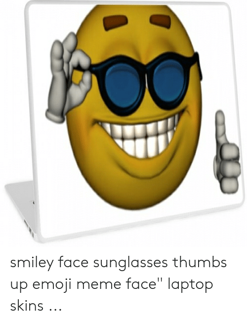 """Sunglasses Thumbs Up: smiley face sunglasses thumbs up emoji meme face"""" laptop skins ..."""