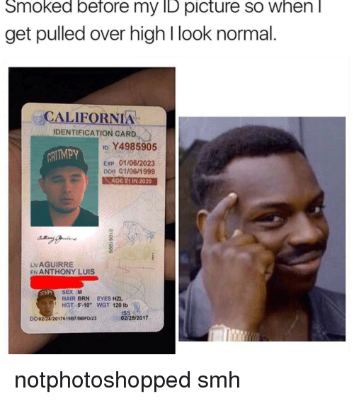 """dobs: Smoked before my ID picture SO When  get pulled over high l look normal  CALIFORNIA  IDENTIFICATION CARD  ID 4985905  ARITMPy  Exp 01/06/2023  DOB 01/06/1999  AGE 21 IN 2020  LNAGUIRRE  EN ANTHONY LUIS  SEX M  HAIR BRN EYES HZL  HGT 5 -10"""" WGT 120 lb  02/28/2017  DD02/28/2017619B7UBBFD'23 notphotoshopped smh"""