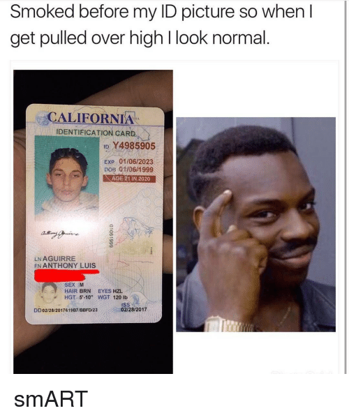 """dobs: Smoked before my ID picture so when I  get pulled over high l look normal  CALIFORNIA  IDENTIFICATION CARD  ID YA985905  EXP 01/06/2023  DOB 011061 999  AGE 21 IN 2020  LN AGUIRRE  EN ANTHONY LUIS  SEX M  HAIR  BRN EYES HZL  HGT 5 -10"""" WGT 120 lb  DD02/28/2017619B7/BBFD 23 02/28/2017 smART"""