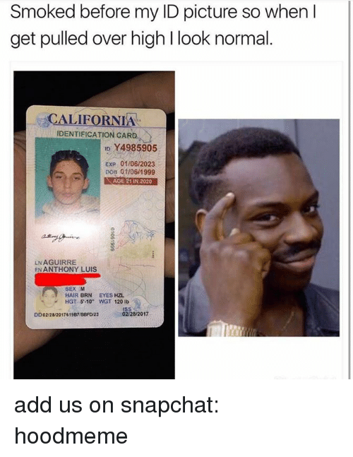 """dobs: Smoked before my ID picture so when I  get pulled over high l look normal  ALIFORNIA  IDENTIFICATION CARD  ID Y4985905  EXP 01106/2023  01/06/1999  DOB AGE21IN 2020  LNAGUIRRE  EN ANTHONY LUIS  SEX M  HAIR BRN EYES HZL.  HGT 5-10"""" WGT 120 lb  02/28/2017  DD02/28/2017619B7/BBFD23 add us on snapchat: hoodmeme"""