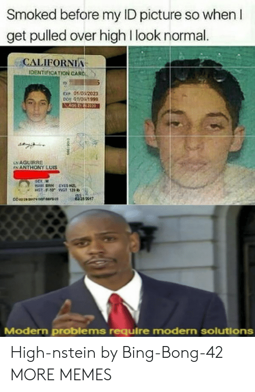 bing bong: Smoked before my ID picture so when I  get pulled over high I look normal.  CALIFORNIA  IDENTIFICATION CARC  ㄌ  01芯n2023  010/1999  ex,  LNAGUIRRE  FNANTHONY LUIS  dex u  4221 2017  Modern problems require modern solutions High-nstein by Bing-Bong-42 MORE MEMES